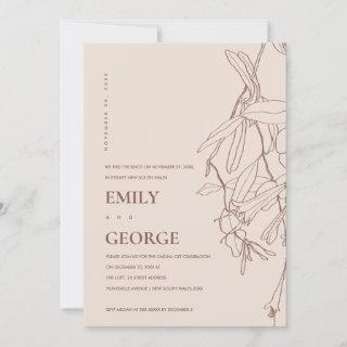 BLUSH LINE DRAWING FLORAL WE TIED THE KNOT INVITE