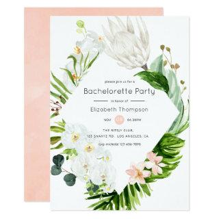 Blush Lush Paradise Tropical Floral Bachelorette Invitations