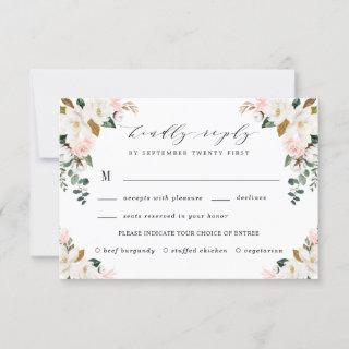 Blush Meal Choice Gold and White Magnolia Wedding RSVP Card