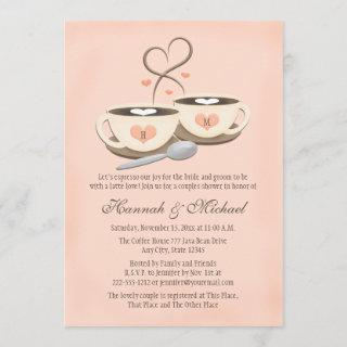 Blush Monogrammed Coffee Cup Heart Couples Shower Invitations