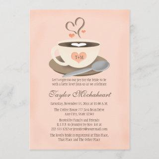 Blush Monogrammed Heart Coffee Cup Bridal Shower Invitation