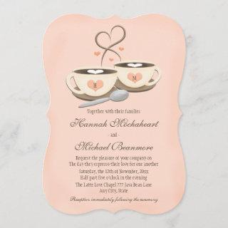 Blush Monogrammed Heart Two Coffee Cups Wedding Invitations
