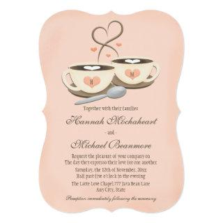 Blush Monogrammed Heart Two Coffee Cups Wedding Invitation