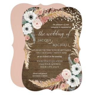 Blush n White Pampas Grass Floral Twinkle Lights Invitation