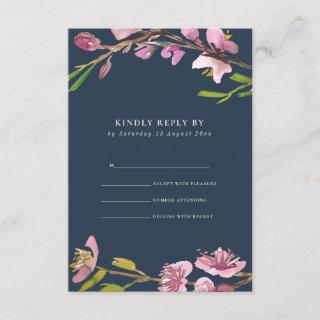 BLUSH NAVY CHERRY BLOSSOM FLORAL WEDDING RSVP ENCLOSURE CARD
