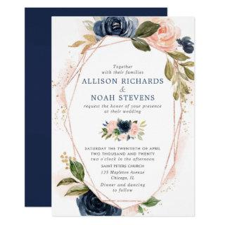Blush navy gold modern floral watercolors wedding Invitations