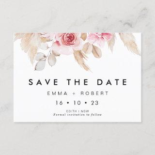 Blush Pampas Grass Wedding Save The Date Card