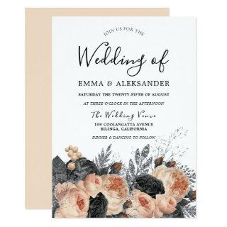 Blush Peach Flowers Elegant Wedding Invitation