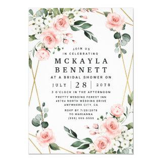 Blush Pink and Gold Floral Greenery Bridal Shower Invitation