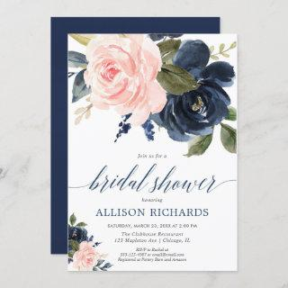 Blush pink and navy blue floral bridal shower Invitations
