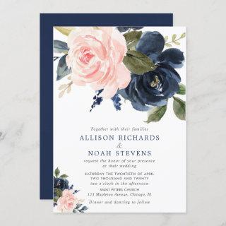 Blush pink and navy blue rose boho wedding Invitations