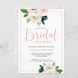 Blush Pink and White Feminine Floral Bridal Shower Invitations
