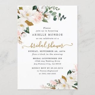 Blush Pink and White Magnolia Floral Bridal Shower Invitation