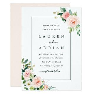 Blush Pink Bloom Wedding Invitation