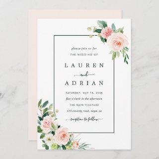 Blush Pink Bloom Wedding Invitations