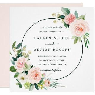 Blush Pink Bloom Wedding Square Invitation