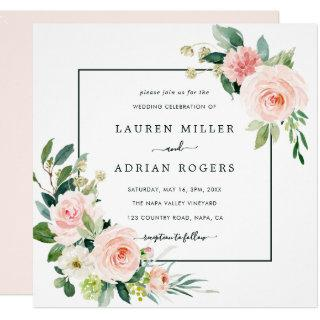 Blush Pink Bloom Wedding Square Invitations