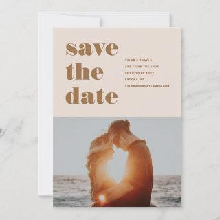 Blush pink  bold type photo save the date