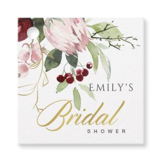 BLUSH PINK BURGUNDY PROTEA FLORAL BRIDAL SHOWER FAVOR TAGS