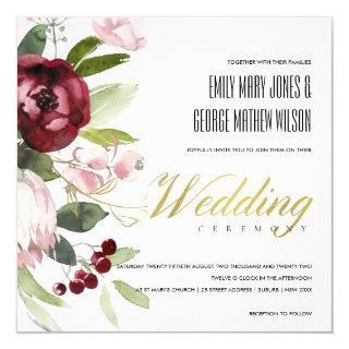 BLUSH PINK BURGUNDY PROTEA PEONY FLORAL WEDDING Invitations