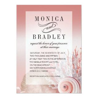 Blush Pink Faux Vellum Overlay Beach Wedding Invitation