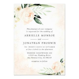 Blush Pink Floral Elegant Champagne Garden Wedding Invitations