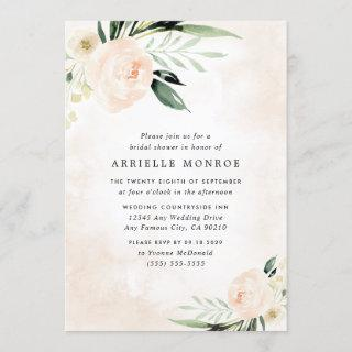Blush Pink Floral Elegant Garden Bridal Shower Invitation