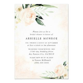 Blush Pink Floral Elegant Garden Bridal Shower Invitations