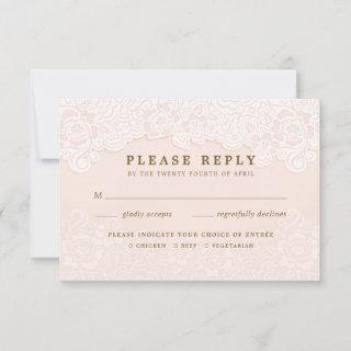 Blush Pink Floral Lace RSVP With Entrees