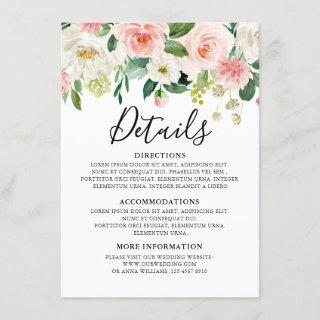 Blush Pink Floral Modern Botanical Wedding Details Enclosure Card