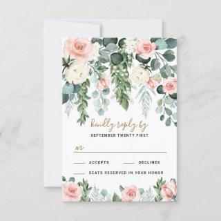 Blush Pink Floral Rose Garden Watercolor Wedding RSVP Card