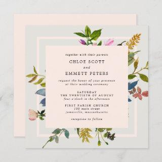Blush Pink Floral Watercolor Square Wedding Invitations