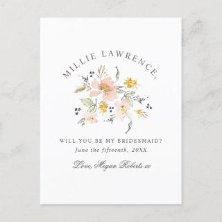 Blush Pink Floral Will You Be My Bridesmaid Photo Invitations Postcard