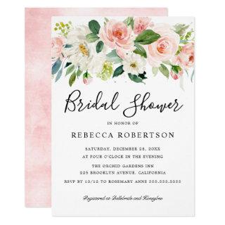 Blush Pink Florals Modern Botanical Bridal Shower Invitation