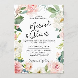 Blush Pink Florals Modern Botanical Frame Wedding Invitations