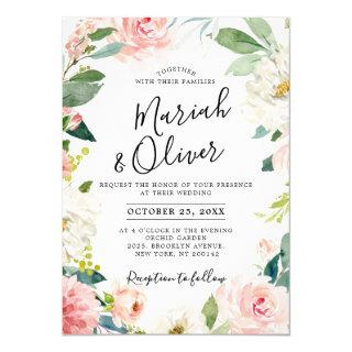 Blush Pink Florals Modern Botanical Frame Wedding Invitation
