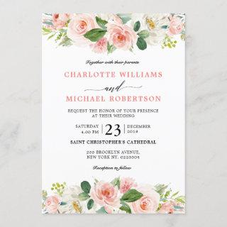 Blush Pink Florals Modern Botanical Wedding Invitations