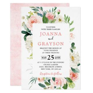 Blush Pink Florals Modern Botanical Wedding Invitation