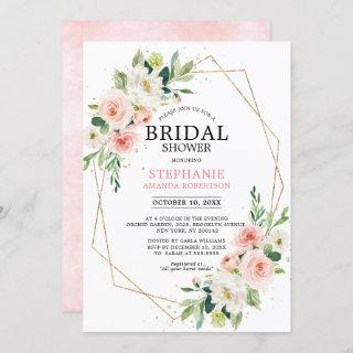 Blush Pink Florals Modern Geometric Bridal Shower Invitation