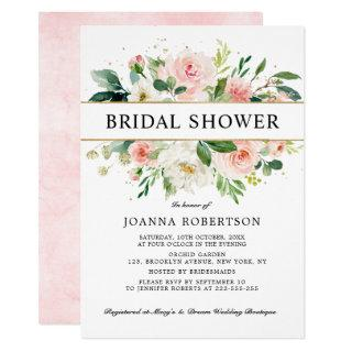 Blush Pink Florals Modern Gold Bridal Shower Invitation