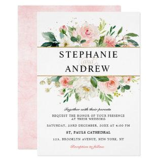 Blush Pink Florals Modern Gold Geometric Wedding Invitation
