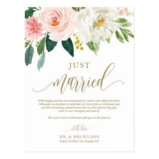 Blush Pink Flowers Gold Just Married Photo Wedding Postcard