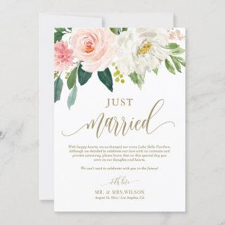 Blush Pink Flowers Gold Just Married Wedding Announcement