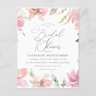 Blush Pink Flowers & Silver Script Bridal Shower Invitations Postcard