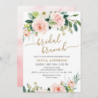 Blush Pink Flowers Watercolor Bridal Brunch Invitations