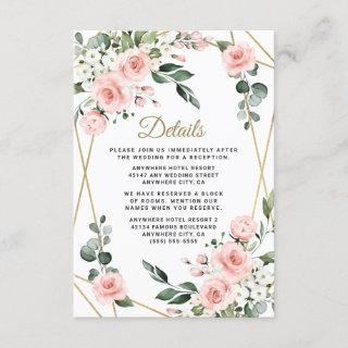 Blush Pink Gold and White Floral Greenery Wedding Enclosure Card