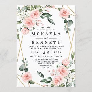 Blush Pink Gold and White Floral Greenery Wedding Invitations