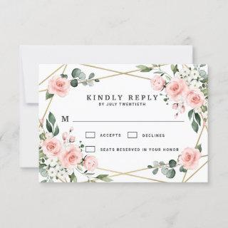 Blush Pink Gold and White Floral Greenery Wedding RSVP Card