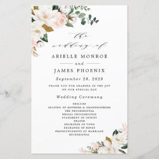 Blush Pink Gold and White Floral Wedding Programs