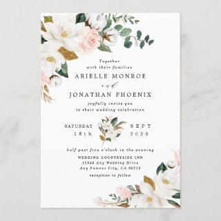 Blush Pink Gold and White Magnolia Floral Wedding Invitation